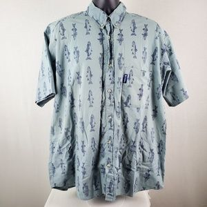 Columbia Bass Fish Pattern Short Sleeve Button Up